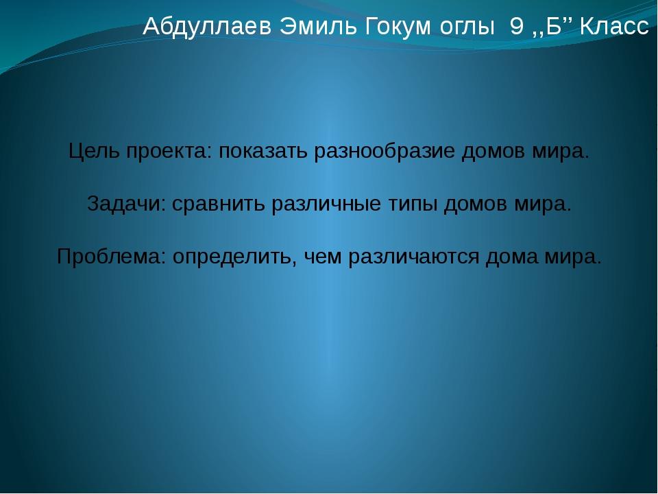 Абдуллаев Эмиль Гокум оглы 9 ,,Б'' Класс Цель проекта: показать разнообразие...