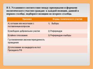 В 3. Установите соответствие между признаками и формами политического участия