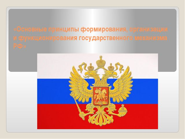 «Основные принципы формирования, организации и функционирования государственн...