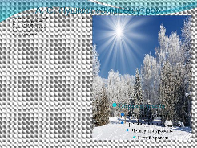 А. С. Пушкин «Зимнее утро» Мороз и солнце; день чудесный! Еще ты дремлешь, др...
