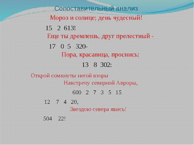 Сопоставительный анализ Мороз и солнце; день чудесный! 15 2 613! Еще ты дремл...