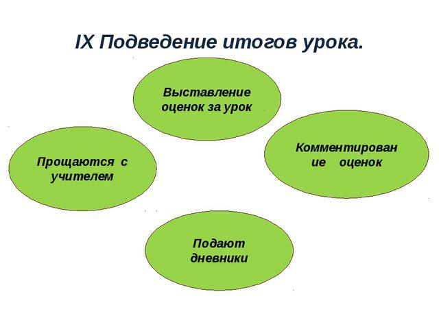 IX Подведение итогов урока. Выставление оценок за урок Прощаются с учителем П...