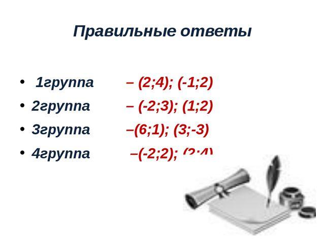 Правильные ответы 1группа – (2;4); (-1;2) 2группа – (-2;3); (1;2) 3группа –(6...