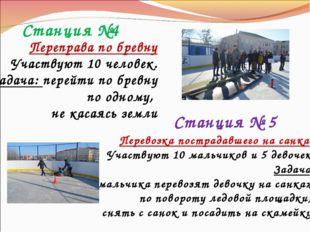 Станция №4 Переправа по бревну Участвуют 10 человек. Задача: перейти по бревн