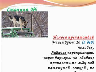 Станция №6 Полоса препятствий Участвуют 10 (3 дев) человек. Задача: перепрыгн