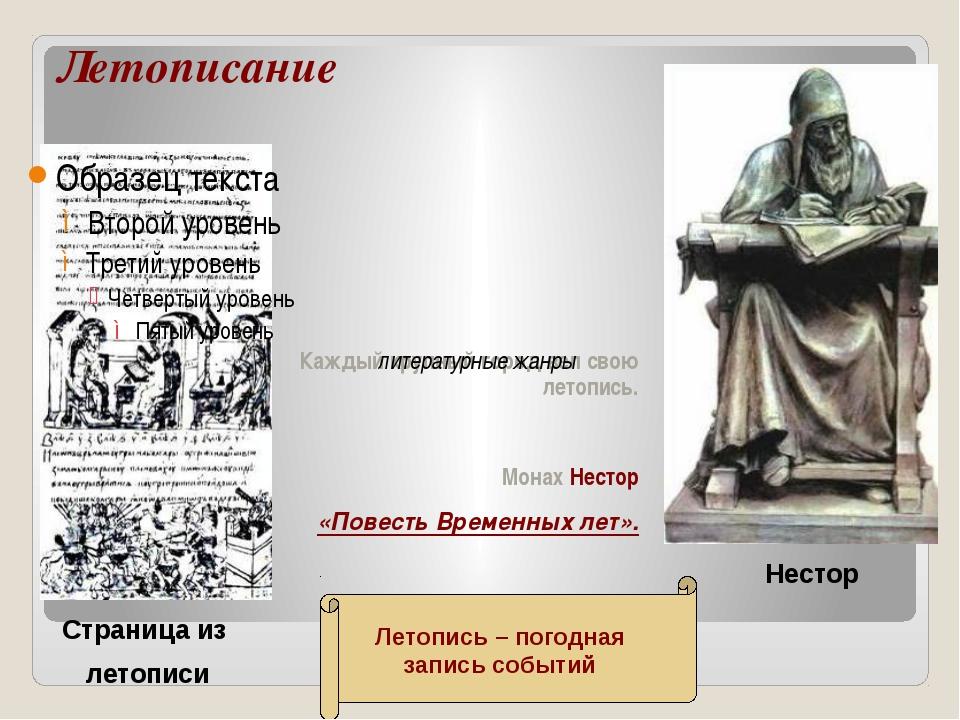 Летописание Каждый крупный город вел свою летопись. Монах Нестор «Повесть Вре...