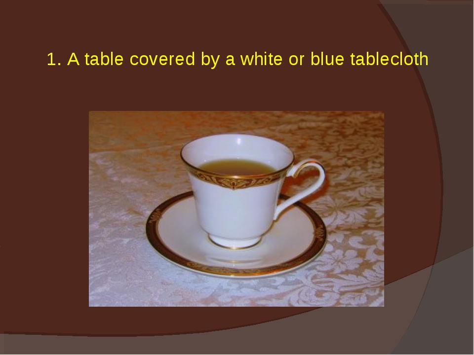 1. A table covered by a white or blue tablecloth