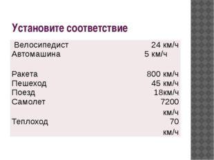 Установите соответствие Велосипедист 24 км/ч Автомашина 5 км/ч Ракета 800 км/