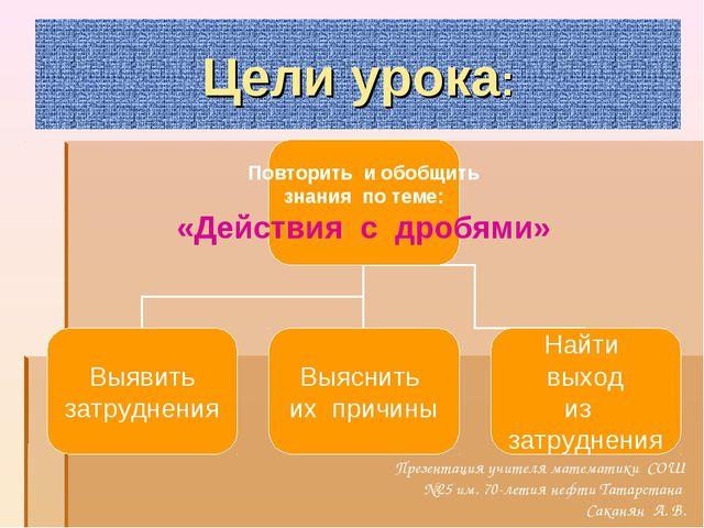 Цели урока: Презентация учителя математики СОШ №25 им. 70-летия нефти Татарст...