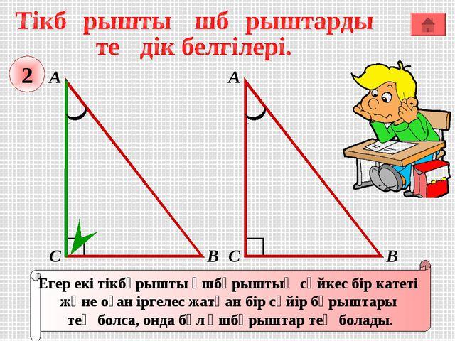 А В С Егер екі тікбұрышты үшбұрыштың сәйкес бір катеті және оған іргелес жатқ...