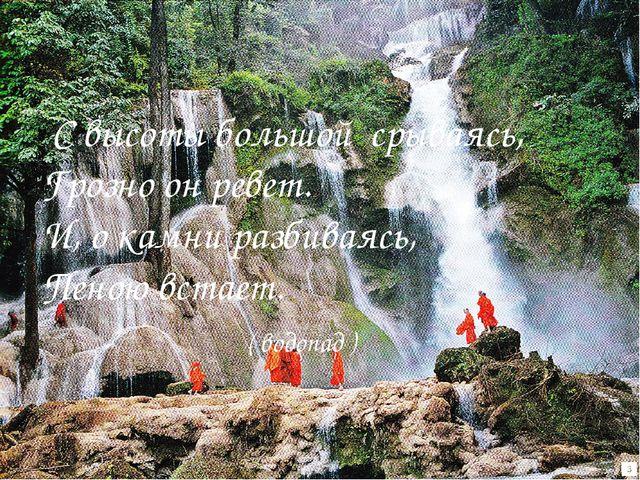 зиг Водопад С высоты большой срываясь, Грозно он ревет. И, о камни разбиваясь...