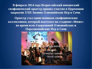 В феврале 2014 года Всероссийский юношеский симфонический оркестр принял учас