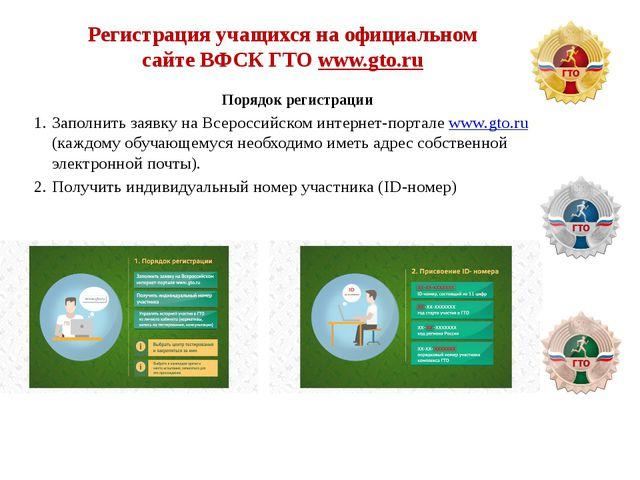 Регистрация учащихся на официальном сайте ВФСК ГТО www.gto.ru Порядок регистр...