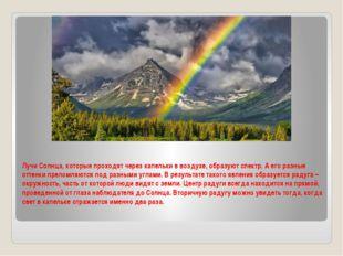 Лучи Солнца, которые проходят через капельки в воздухе, образуют спектр. А ег