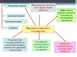 Признаки правового государства Разделение власти законодательная исполнительн