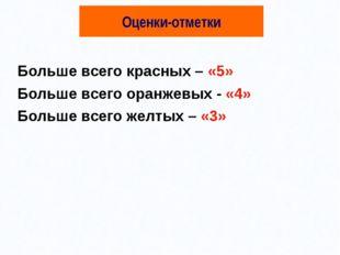 Оценки-отметки Больше всего красных – «5» Больше всего оранжевых - «4» Больше