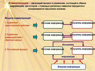 Коммуникации – связующий процесс в управлении, состоящий в обмене информацией