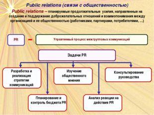 Public relations – планируемые продолжительные усилия, направленные на создан