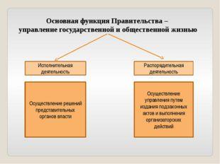 Основная функция Правительства – управление государственной и общественной жи