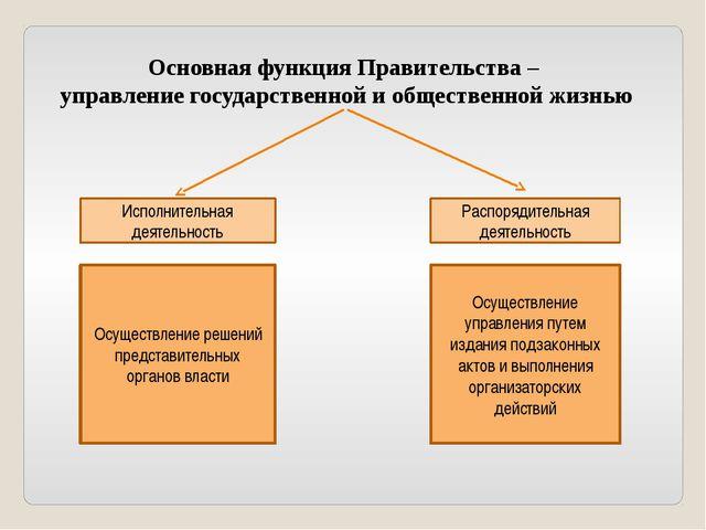 Основная функция Правительства – управление государственной и общественной жи...