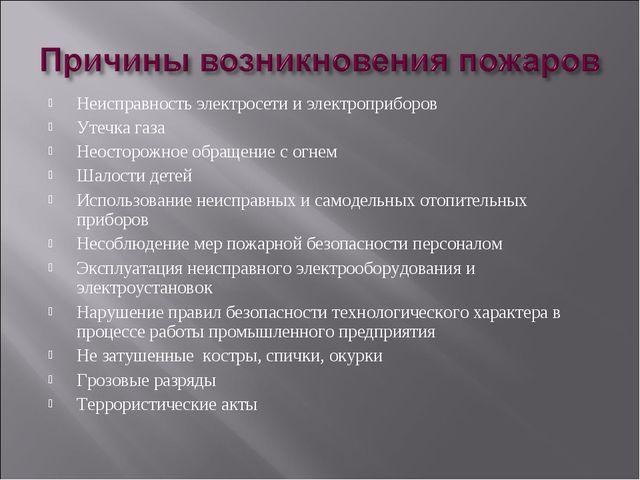 Неисправность электросети и электроприборов Утечка газа Неосторожное обращени...