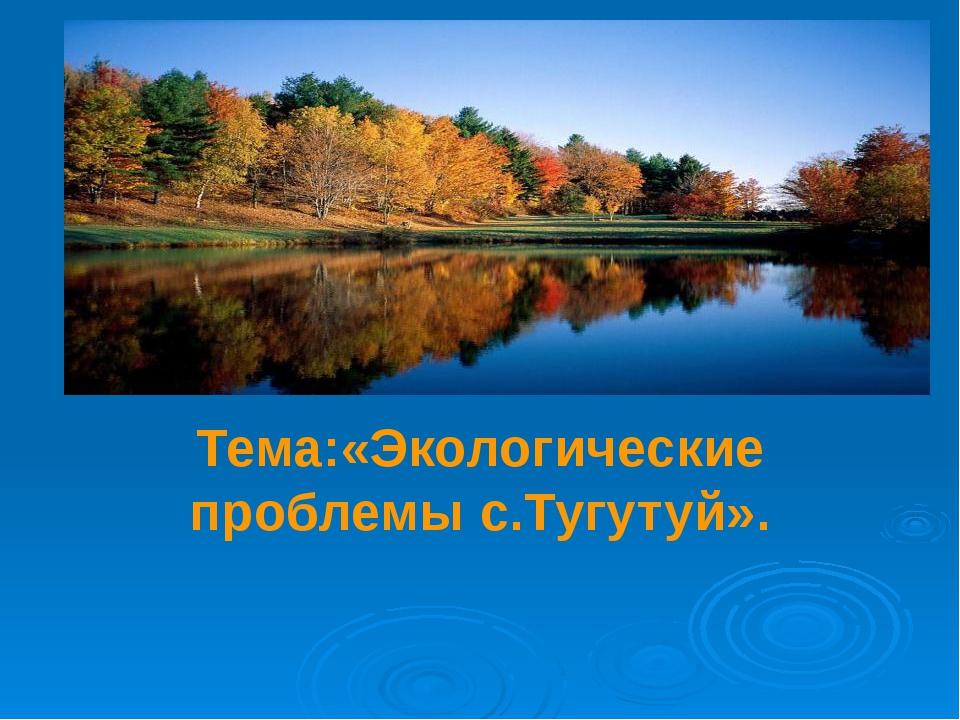 Тема: Тема:«Экологические проблемы с.Тугутуй».