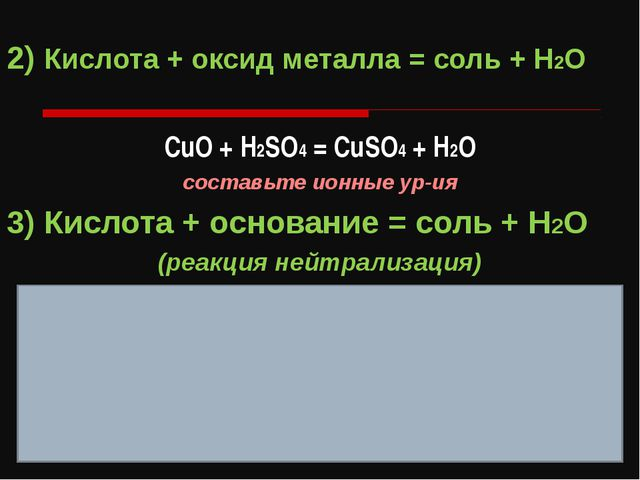 2) Кислота + оксид металла = соль + H2O СuO + H2SO4 = CuSO4 + H2O составьте и...