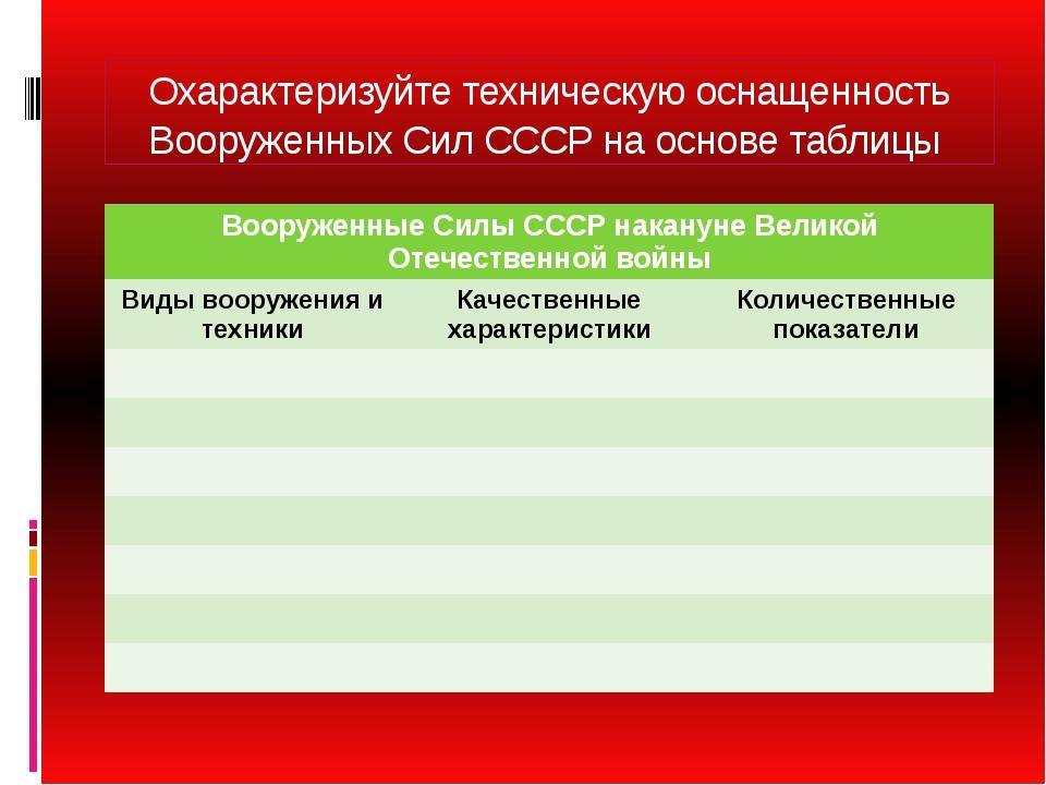 Охарактеризуйте техническую оснащенность Вооруженных Сил СССР на основе табли...