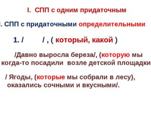 I. СПП с одним придаточным ІІ. СПП с придаточными определительными 1. / / , (