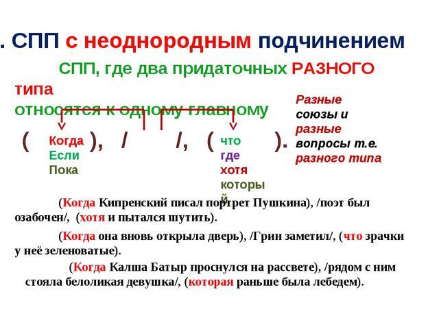 3. СПП с неоднородным подчинением СПП, где два придаточных РАЗНОГО типа отно...
