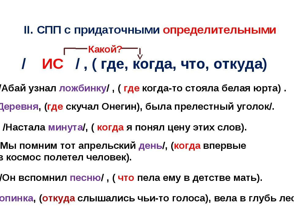ІІ. СПП с придаточными определительными / ИС / , ( где, когда, что, откуда) К...