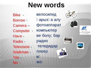 Bike - Borrow - Camera – Computer - Have - Radio - Television - Walkman - Ye