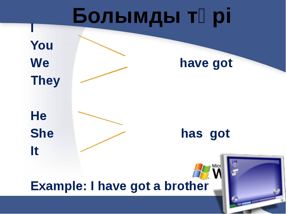 Болымды түрі I You We have got They He She has got It Example: I have got a...