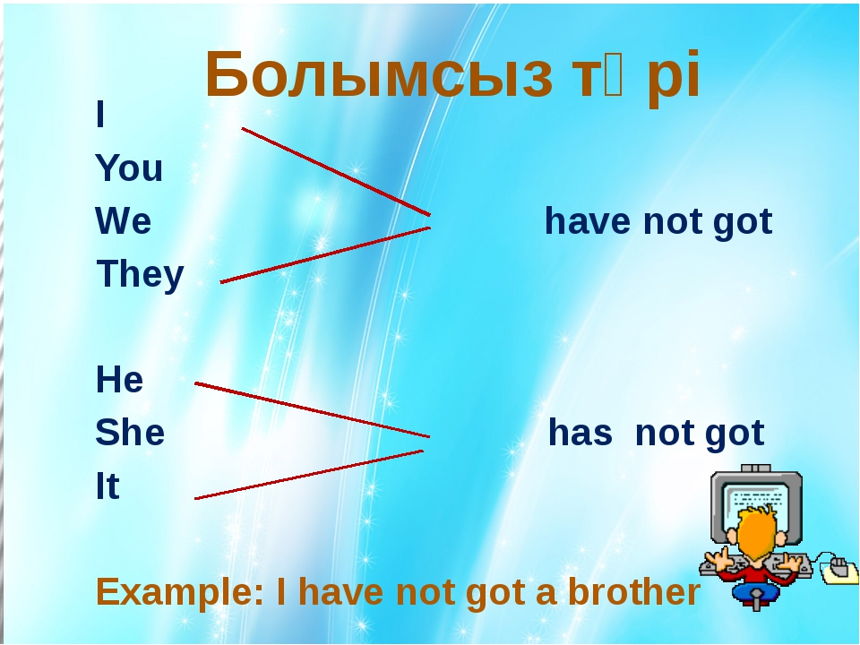 I You We have not got They He She has not got It Example: I have not got a...