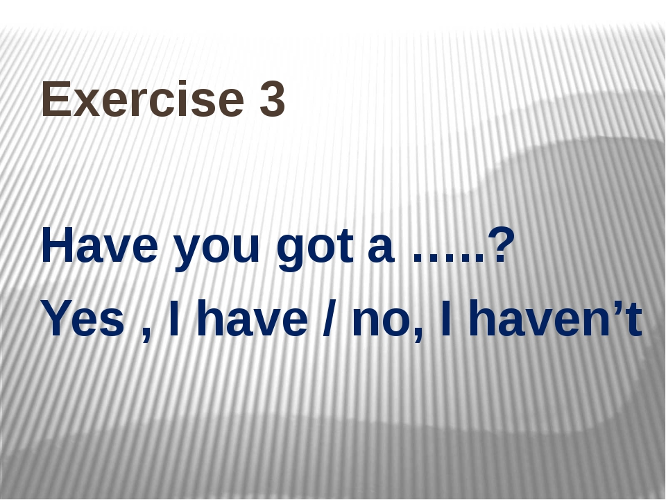 Exercise 3 Have you got a …..? Yes , I have / no, I haven't