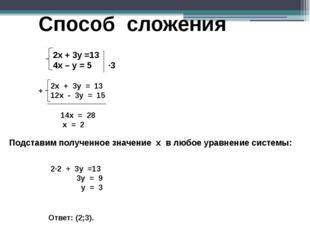 Способ сложения + 14x = 28 x = 2 Подставим полученное значение х в любое урав