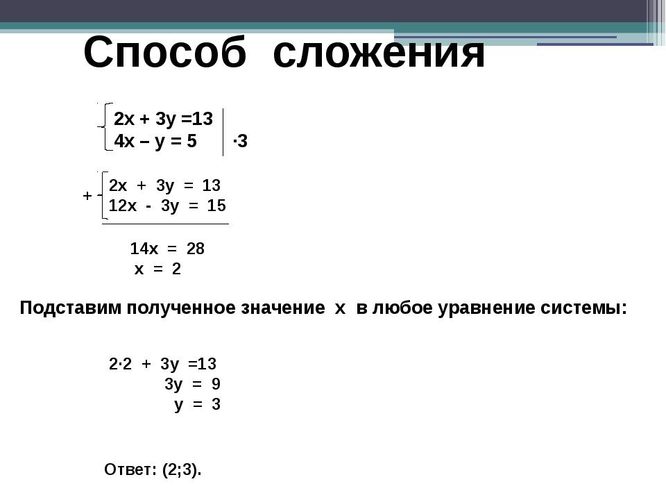 Способ сложения + 14x = 28 x = 2 Подставим полученное значение х в любое урав...