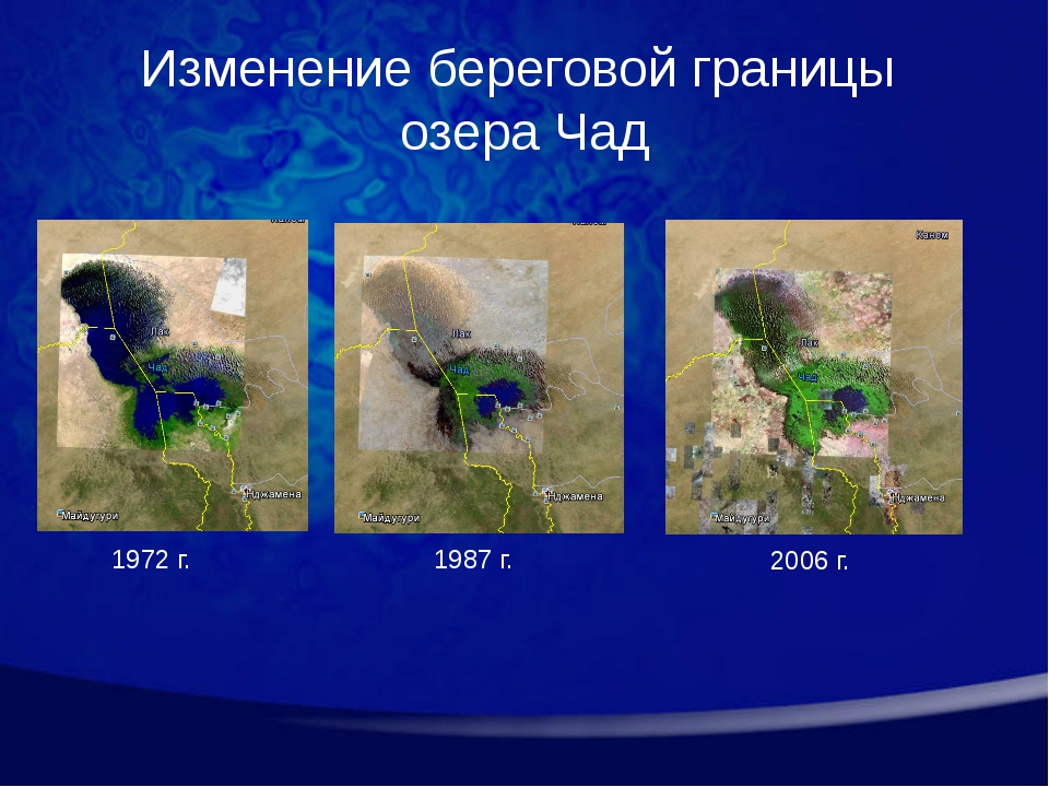1972 г. 1987 г. 2006 г. Изменение береговой границы озера Чад