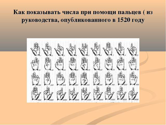 Как показывать числа при помощи пальцев ( из руководства, опубликованного в 1...
