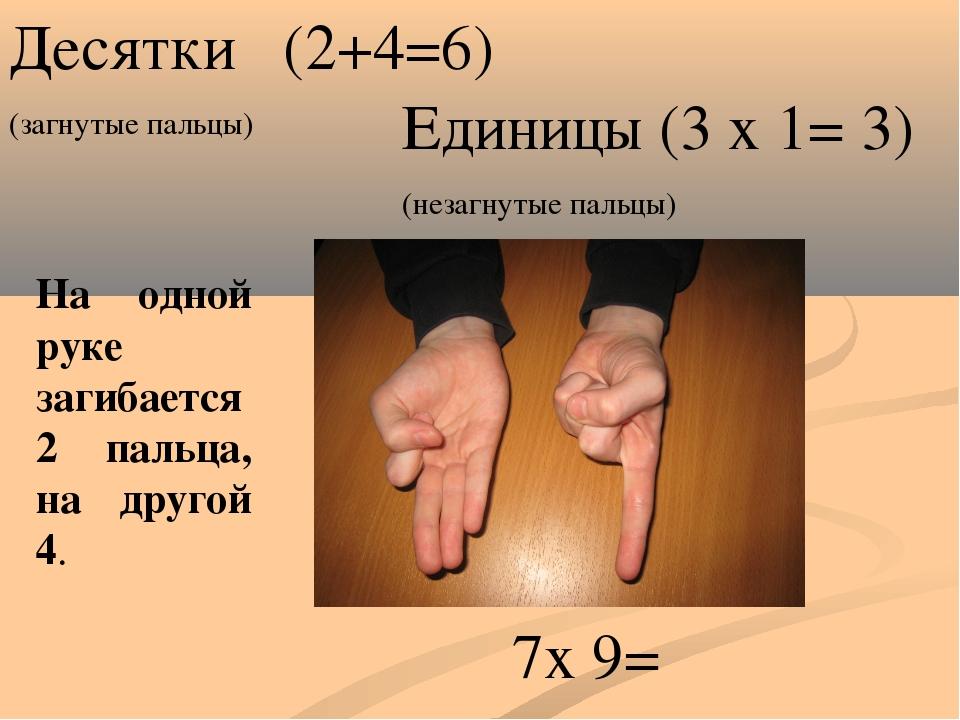 Десятки (2+4=6) (загнутые пальцы) Единицы (3 х 1= 3) (незагнутые пальцы) 6 3...