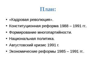 План: «Кадровая революция». Конституционная реформа 1988 – 1991 гг.. Формиров