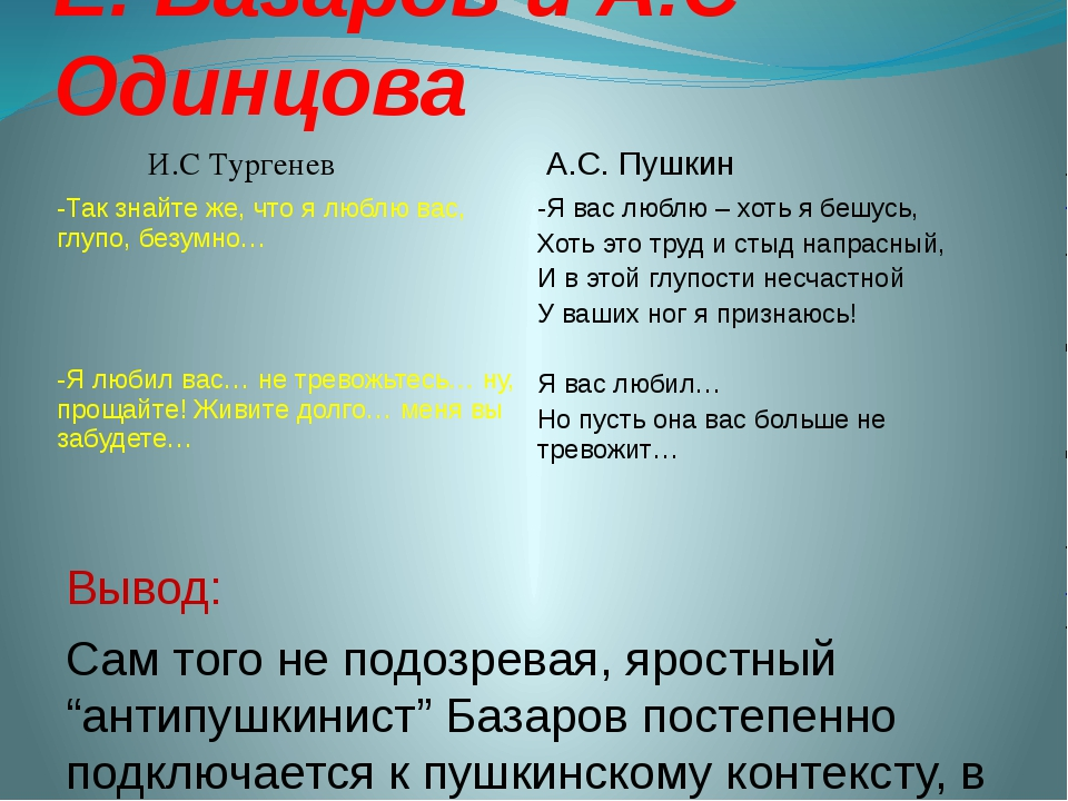 """Е. Базаров и А.С Одинцова Вывод: Сам того не подозревая, яростный """"антипушкин..."""