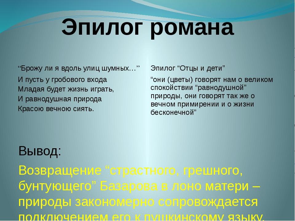 """Эпилог романа Вывод: Возвращение """"страстного, грешного, бунтующего"""" Базарова..."""