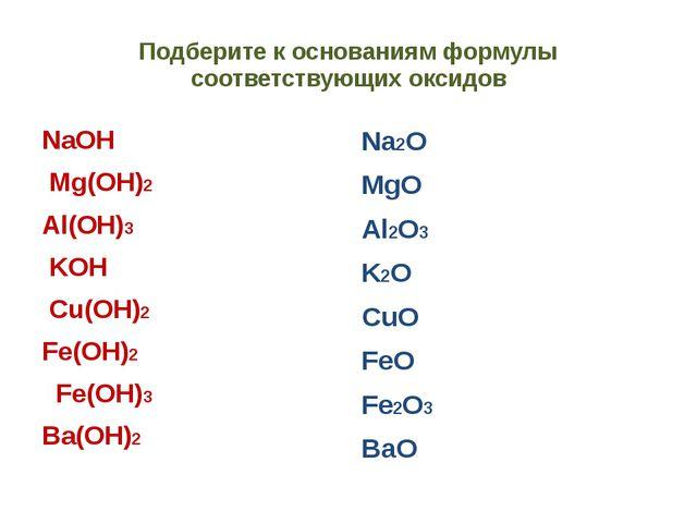 Подберите к основаниям формулы соответствующих оксидов NaOH Mg(OH)2 Al(OH)3 K...