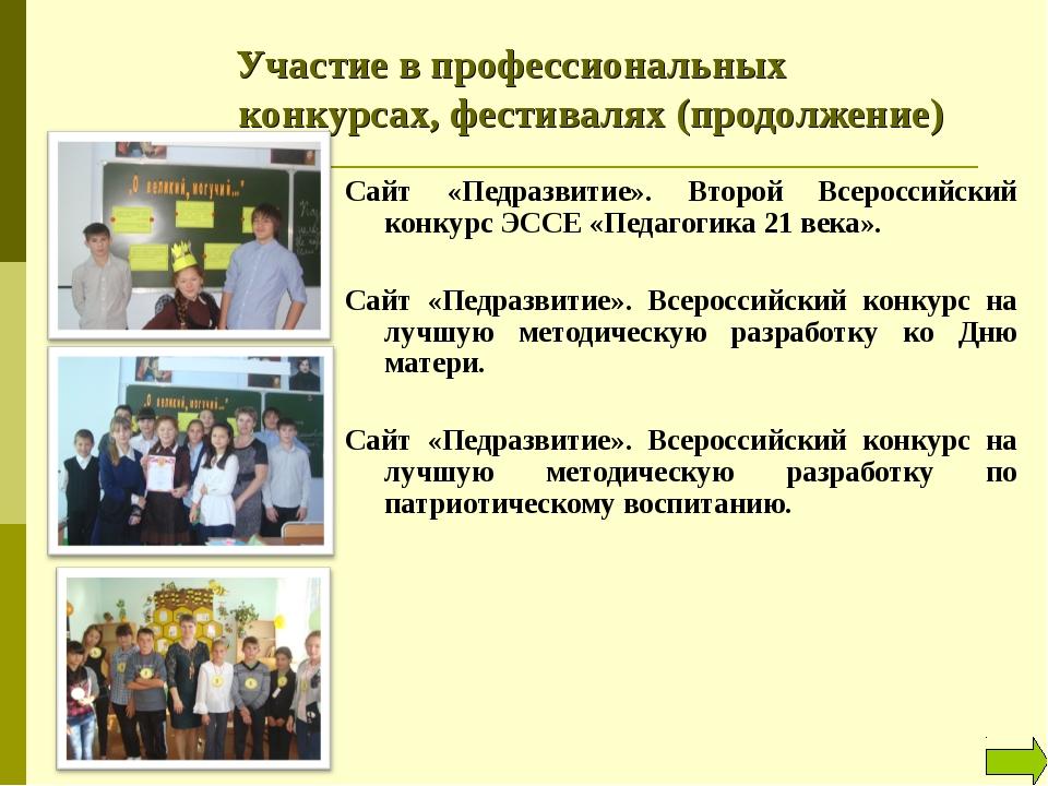 Участие в профессиональных конкурсах, фестивалях (продолжение) Сайт «Педра...