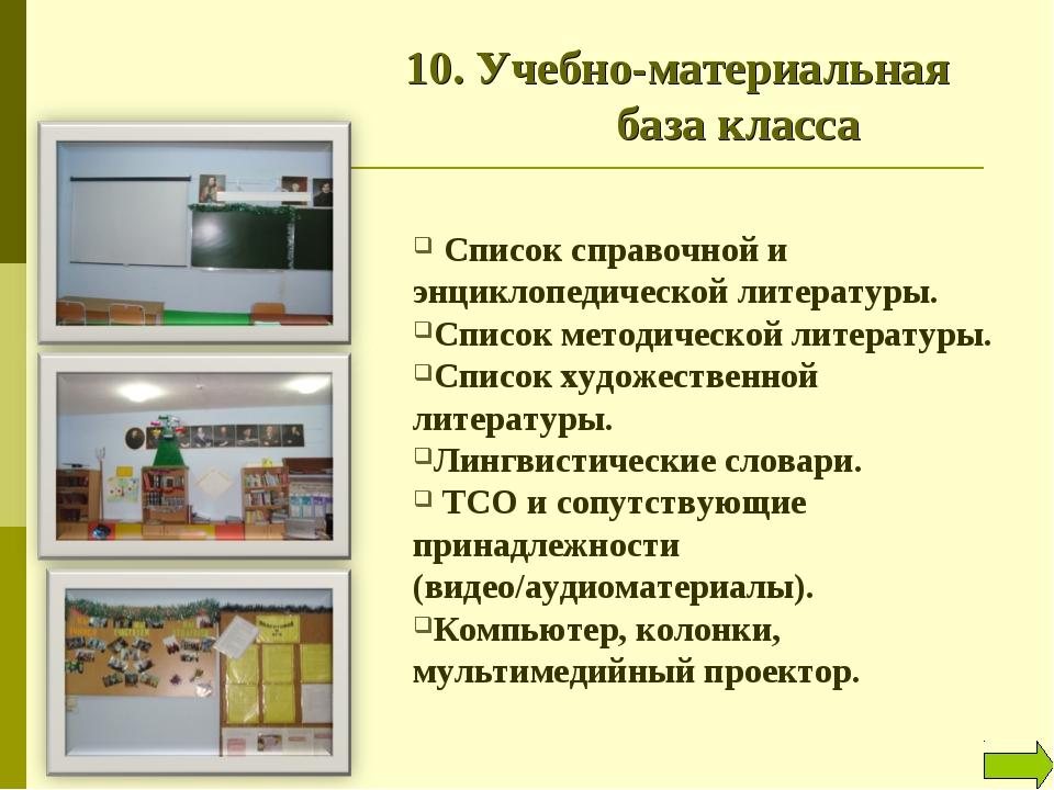 10. Учебно-материальная база класса Список справочной и энциклопедической л...