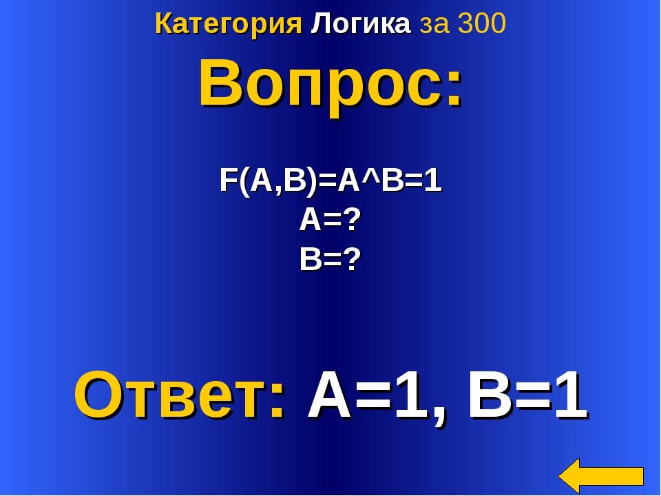 Категория Логика за 300 Вопрос: F(A,B)=A^B=1 A=? B=? Ответ: A=1, B=1