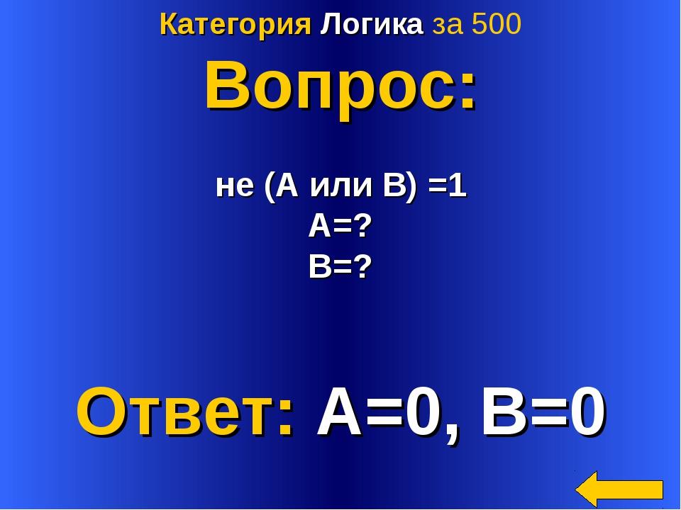 Категория Логика за 500 Вопрос: не (А или В) =1 A=? B=? Ответ: A=0, B=0