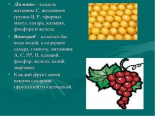 Лимоны - кладезь витамина С, витаминов группы В, Р, эфирных масел, сахара, ка