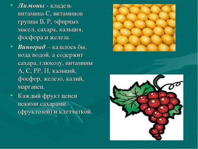 Лимоны - кладезь витамина С, витаминов группы В, Р, эфирных масел, сахара, ка...